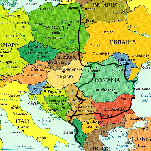 Trasapodróży - mapa europy